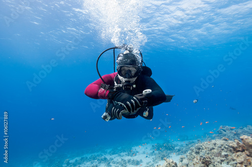 plakat Scuba diver floating over coral reef in the Red Sea and looking to the camera.