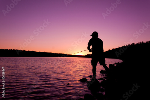 Printed kitchen splashbacks Fishing Fishing at Sunset