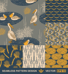 FototapetaRetro background - birds, leafs, geometric ornaments - summer, spring theme