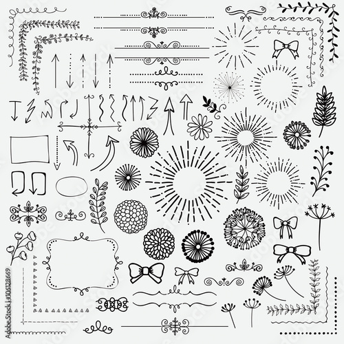 Fotografía  Vector Black Sketched Floral Rustic Design Elements