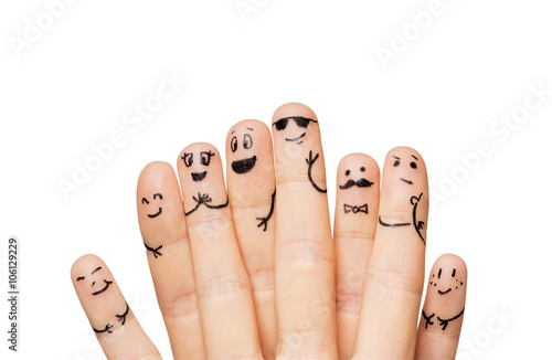 Canvas Print close up of hands and fingers with smiley faces