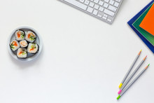 Working And Lifestyle Background With Food And Business Items