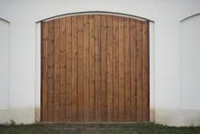 Big Wooden Barn Gate. Monument...