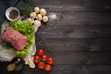 Ingredients For Cooking Meat, The Top View