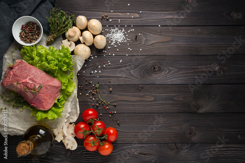 ingredients for cooking meat, the top view Fototapeta