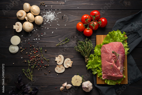 Staande foto Vlees ingredients for cooking meat, the top view