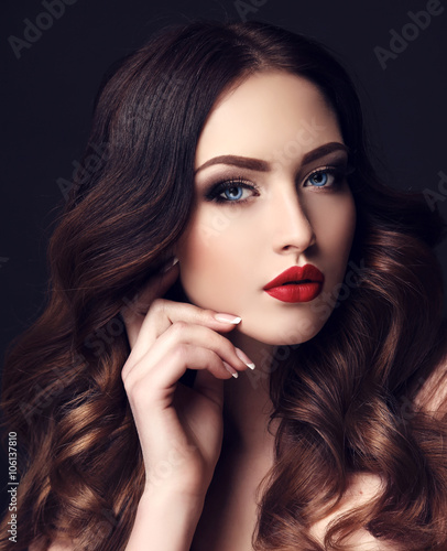 gorgeous sexy woman with dark hair and bright makeup Canvas Print