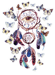 Naklejka Watercolor ethnic dream catcher with all seeing eye.