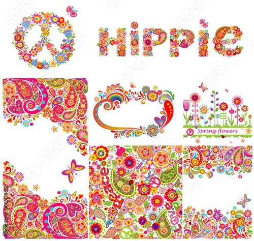 Photo  Set of hippie backgrounds and design elements