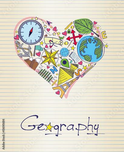 Fotografia  geography in shape of heart