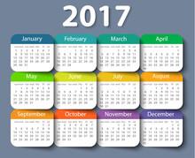 Calendar 2017 Year Vector Design Template.