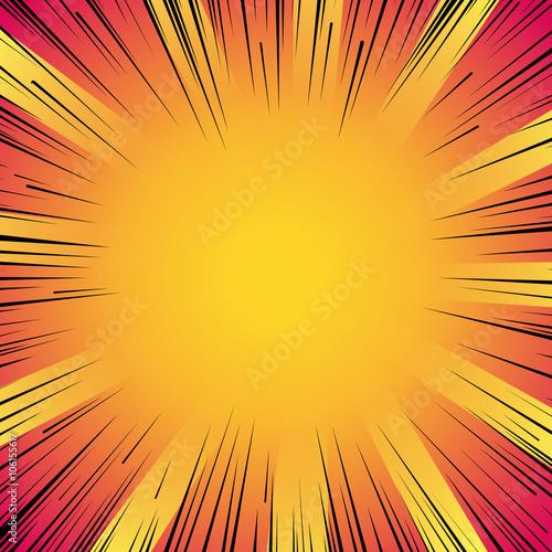 Obraz Manga comic book flash explosion radial lines background.  - fototapety do salonu