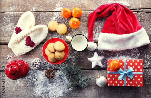 Christmas Composition With A Santa Hat Cookies And Decorations On A