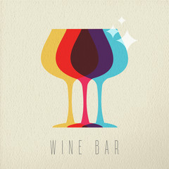 Fototapeta Wino Wine bar concept glass drink icon color design