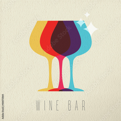 Wine bar concept glass drink icon color design - 106175864