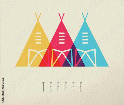 Fotografía Tepee native american icon concept color design