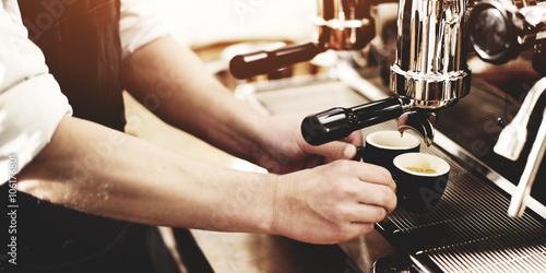 Fotografie, Obraz  Barista Coffee Maker Machine Grinder Portafilter Concept