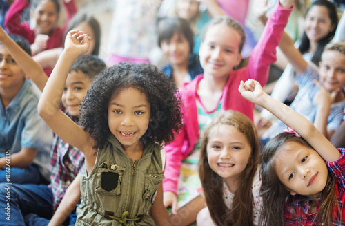 Fotografie, Obraz  Students Children Cheerful Happiness Concept