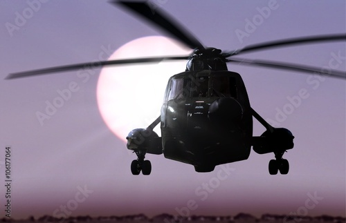 plakat Helicopter flying with sunlight background