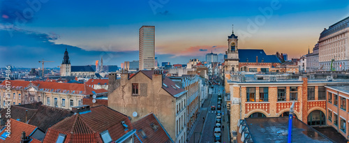 Spoed Foto op Canvas Brussel Cityscape of Brussels at sunset