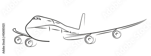 Fényképezés  sketch of flying plane.