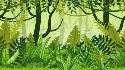 Fototapeta Seamless nature jungle cartoon landscape