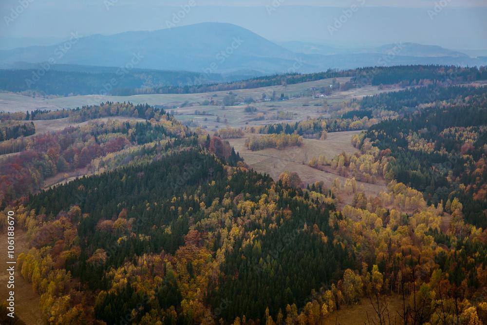 Beautiful mountain landscape with Polish autumn