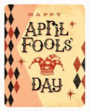 Vintage April Fools Day Card Or Banner Design