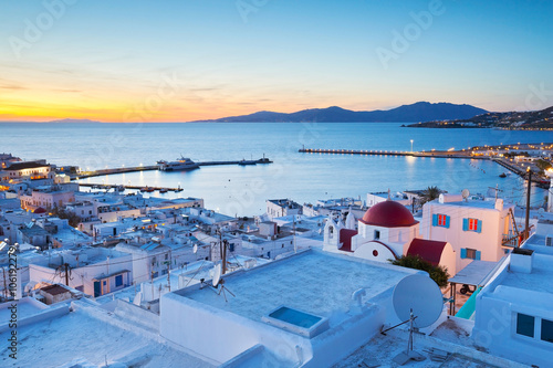 Poster Mediterranean Europe View of Mykonos town and Tinos island in the distance, Greece.