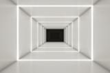 Fototapeta Do przedpokoju - Abstract digital 3d white and light blue with empty illuminated white shining bent corridor interior - 3d render