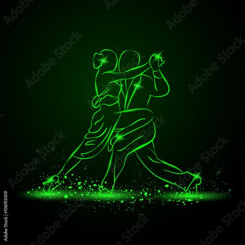 para-tanczy-tango-neon-wektor-zielony-ilustracja