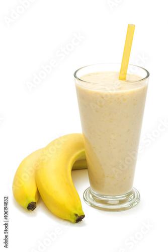 Foto op Plexiglas Milkshake banana milk smoothie on white background