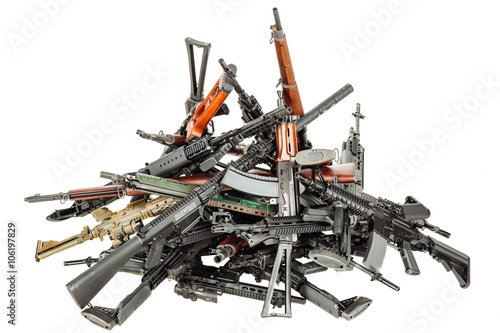 Fotografie, Obraz  Details of many  confiscated modern rifles supplied smuggled