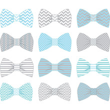 Cute Blue And Grey Bow Tie Col...