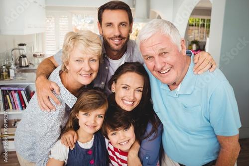 Obraz Portrait of smiling family with grandparents - fototapety do salonu