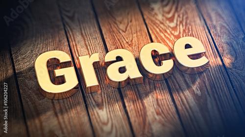 Word Grace on wood planks Canvas Print