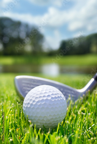 Golf club and ball in grass - 106214085