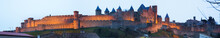 Panorama Of The Fortified City In Evening.  Carcassonne
