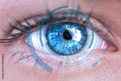 Photo sur Aluminium Iris Digital composite of Eye scanning a futuristic interface