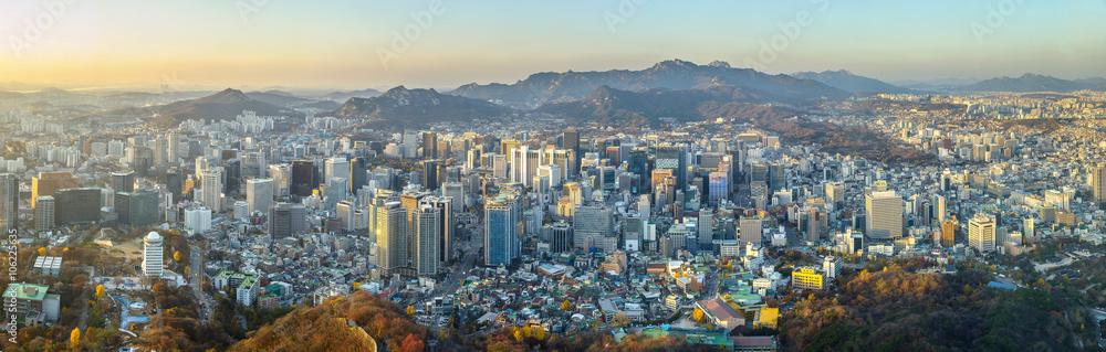 Fotografie, Tablou  Seoul city South korea panorama,sunset time
