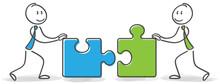 Strichmännchen Mit Puzzleteile Partnerschaft