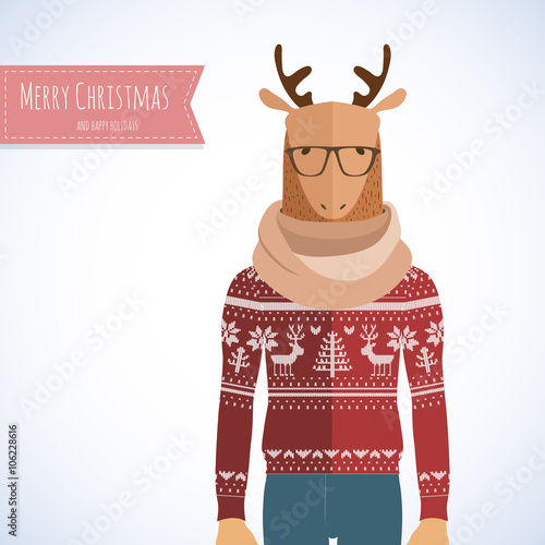 Deer Hipster in flat style. Holiday card design.