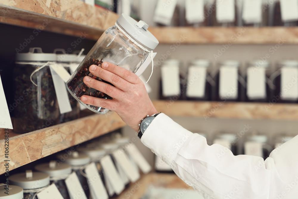 Fototapeta Sklep z herbatą.  rodzaj herbaty