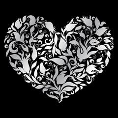 FototapetaGreeting silver heart elements for design.