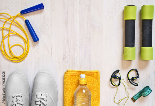 Fotografija  Accessories for fitness classes. Sports concept.