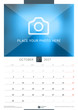 October 2017. Wall Monthly Calendar for 2017 Year. Vector Design Print Template with Place for Photo. Week Starts Monday. Portrait Orientation