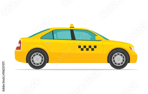 Foto Taxi car. Flat styled vector illustration