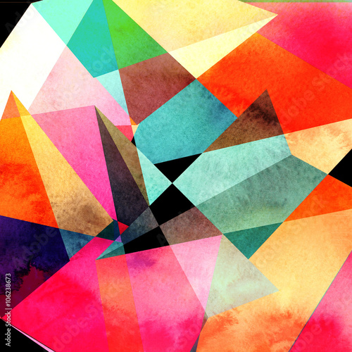 Canvas Print abstract watercolor geometric background
