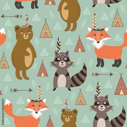 Valokuva  Tribal seamless pattern with cute animals