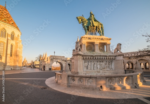 Fotografie, Obraz  Saint Stefan Statue at Fisherman's Bastion, in Budapest, Hungary with Clear Blue